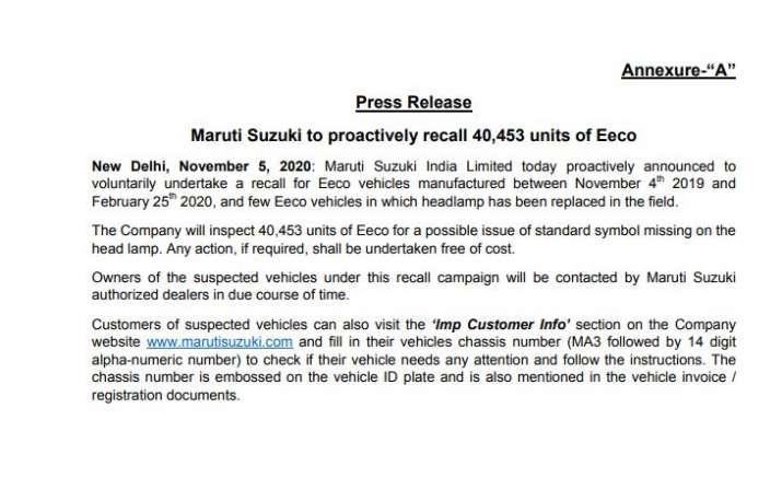 maruti suzuki to recall 40,453 units of Eeco