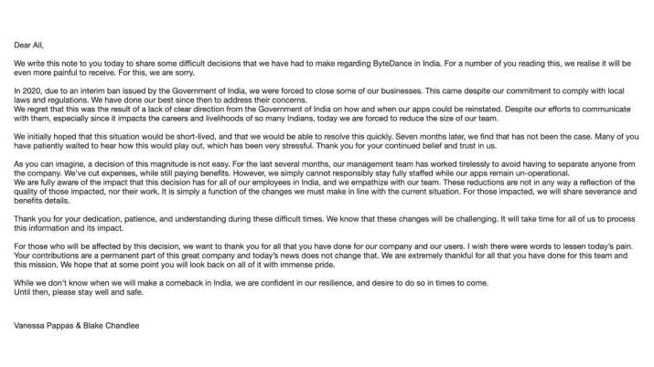 Tiktok and Hello parents Bytedance shutdown their operation in india