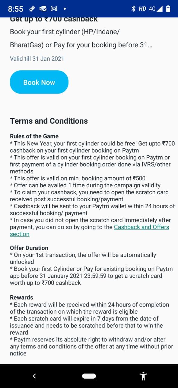 paytm cashback offer on lpg cylinder free booking upto 31 january see details