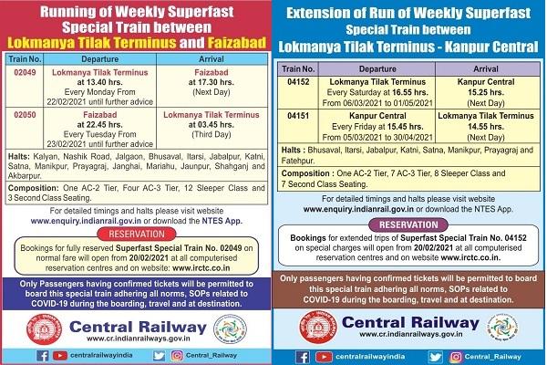 Indian Railways start special trains mumbai lokmanya tilak terminus kanpur faizabad check routes sto