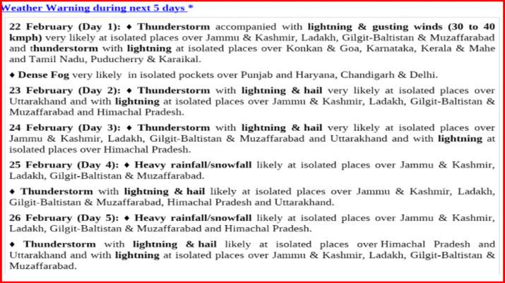 IMD alert western disturbance himalayan regions cold to rise North India weather latest news