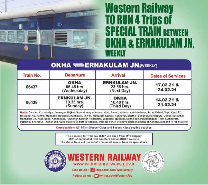 Okha Ernakulam Express train