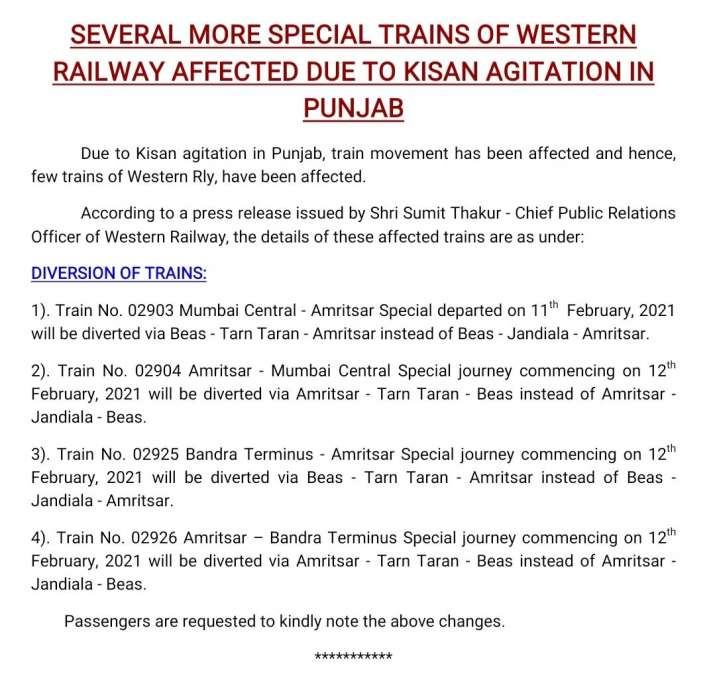 train movement has been affected Due to Kisan agitation in Punjab