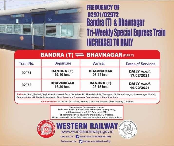 Train no 02971-72 Bandra Terminal to Bhavnaga