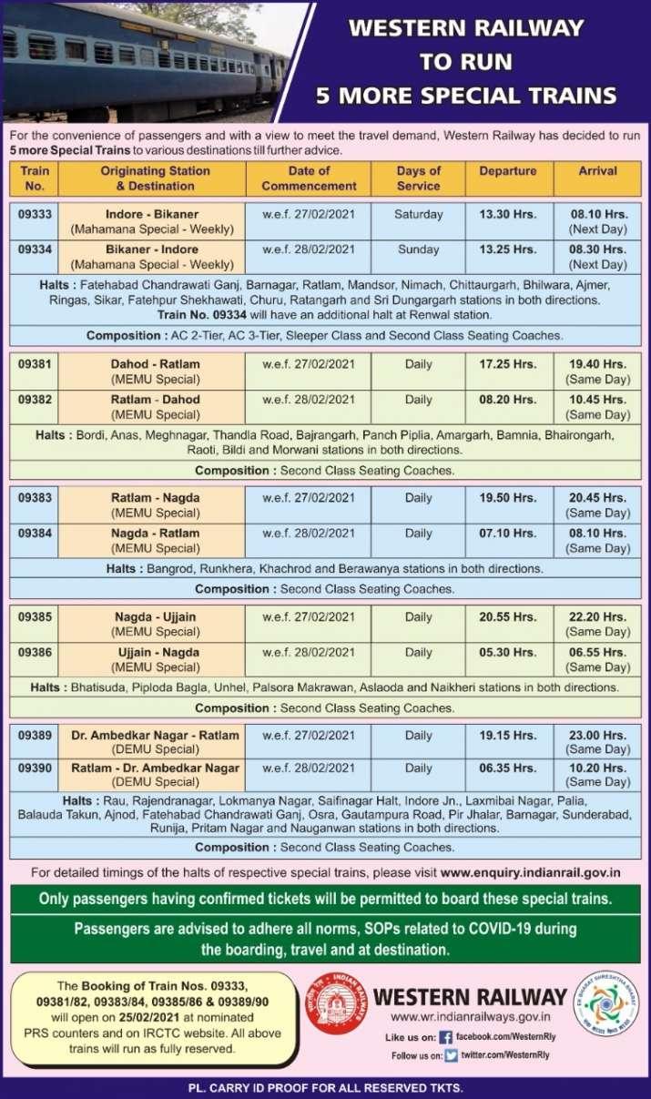 Western Railway run 5 more special trains