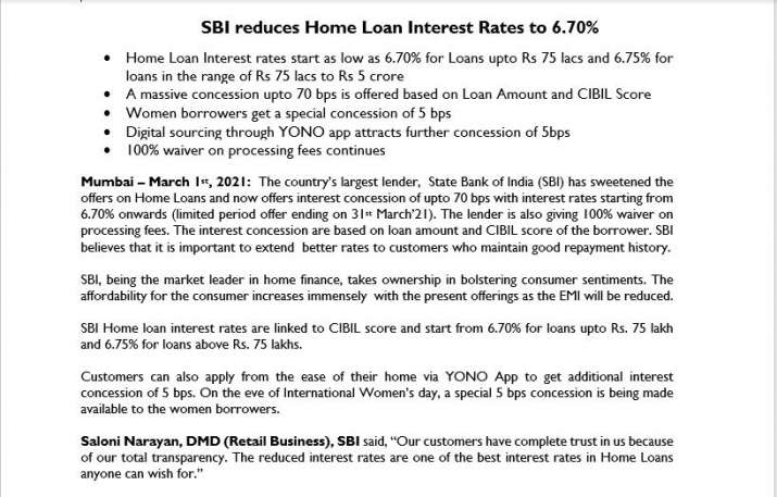 State Bank Of India Reduces Home Loan Interest Rate To 6.7percent