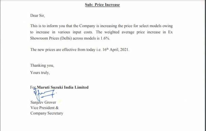 bad news for consumer Maruti Suzuki hikes model prices by up to Rs 22,500
