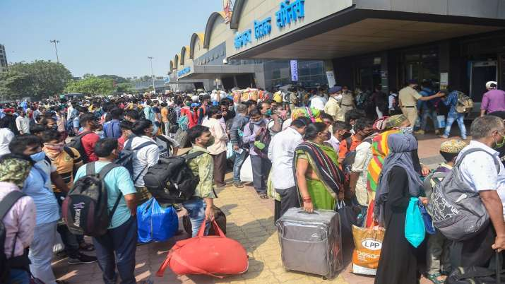 Migrant workers Mumbai Lokmanya Tilak Terminus Railway station to board trains to UP Bihar Jharkhand