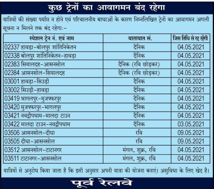 रेलवे ने रद्द की कई स्पेशल ट्रेनें