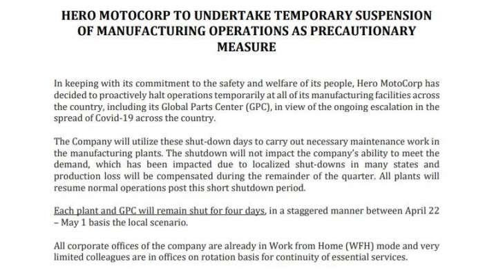 हीरो मोटोकॉर्प की सभी फैक्ट्रियां 1 मई तक बंद, कोरोना संकट के बीच कंपनी ने लिया फैसला
