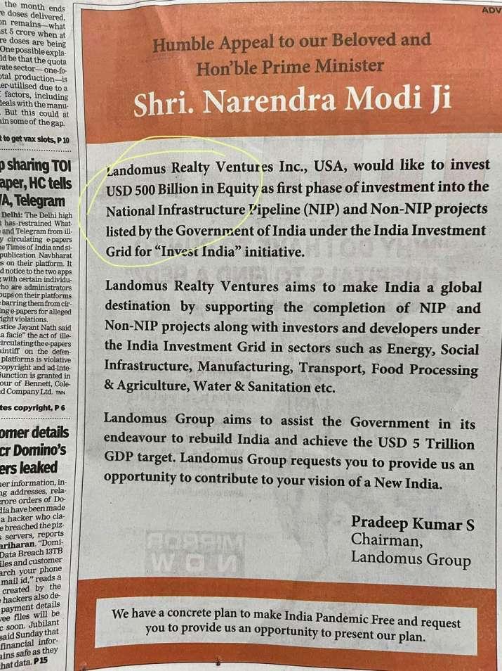 सिर्फ 1.5 करोड़ की कंपनी भारत में करेगी 500 अरब डॉलर का 'निवेश'? अखबारों में छापा विज्ञापन