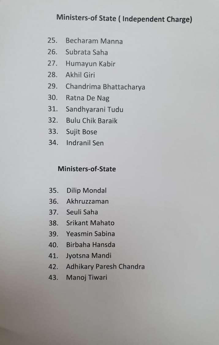 पश्चिम बंगाल में सोमवार को 43 विधायक लेगें मंत्री पद की शपथ