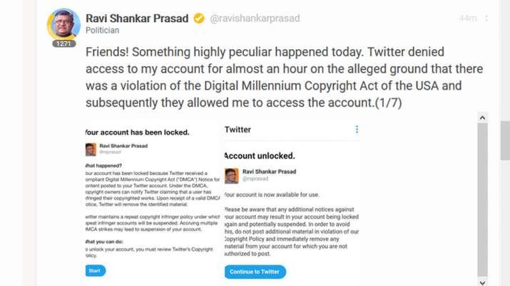 Ravi Shankar Prasad, Koo, Twitter
