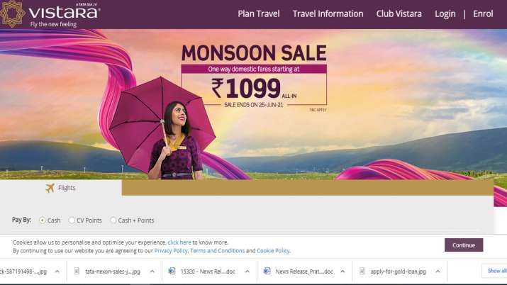 Vistara announces 48-hour only Monsoon Sale, One way allin fares start at Rs. 1099