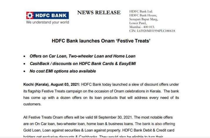 HDFC Bank launches Onam Festive Treats