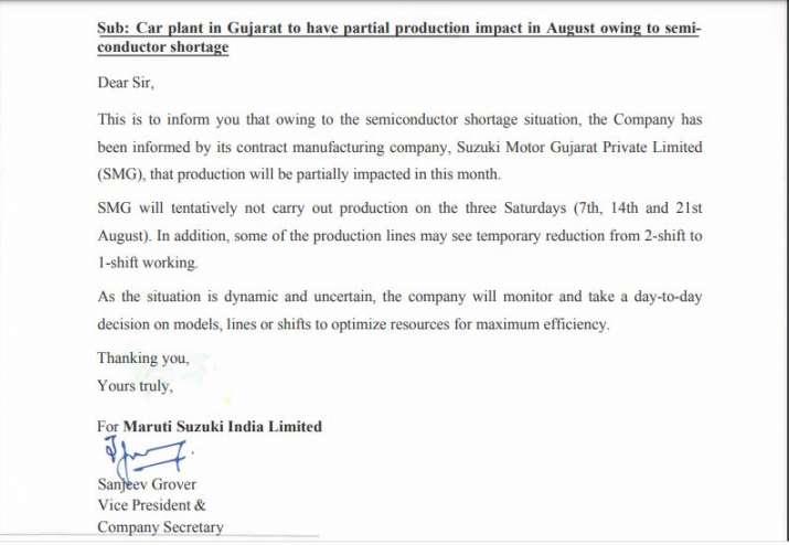 Maruti Suzuki scale down production in Gujarat due to chip shortage