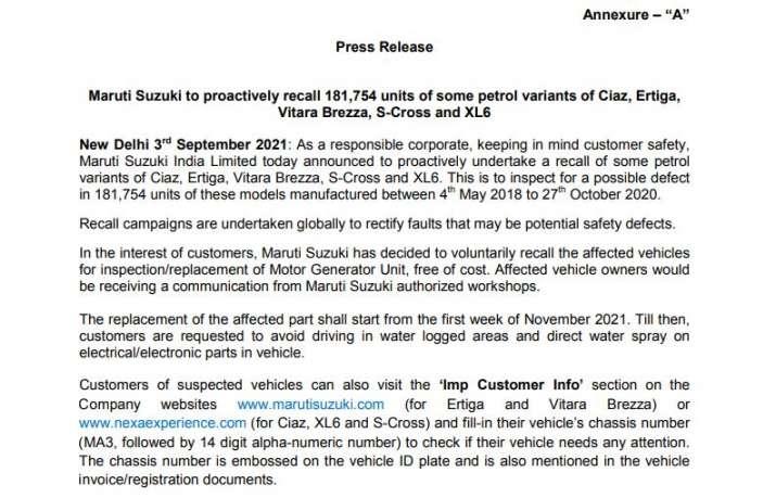 Maruti Suzuki recall 181754 units of some petrol variants