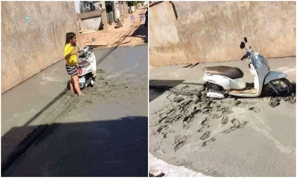 girl with Scooty stuck in new built road internet amused with hilarious  comments - Viral : नई नवेली सड़क पर स्कूटी समेत जा चढ़ी लड़की, यूजर बोले :  वो स्त्री है,कुछ भी