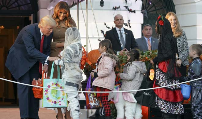 Trump and Melanie did trick and treat during the Halloween...- India TV