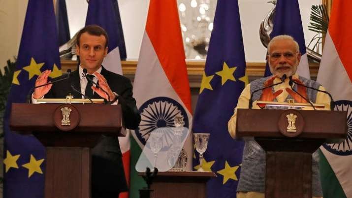 PM Modi with French President Macron- India TV Paisa