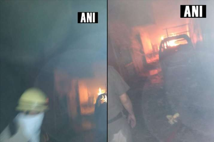 Delhi: Fire breaks out after a cylinder blast in a building on Karawal road in Monga Nagar- India TV