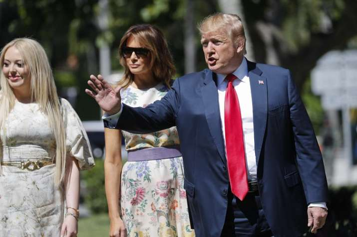 President Donald Trump, right, with first lady Melania...- India TV Hindi