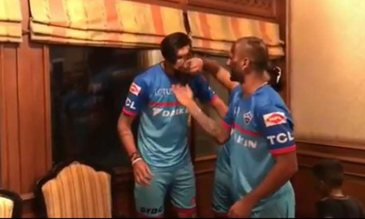 Rishabh Pant Prithvi Shaw Shikhar Dhawan And Ishant Sharma Celebrate Delhi capital win in dressing r- India TV
