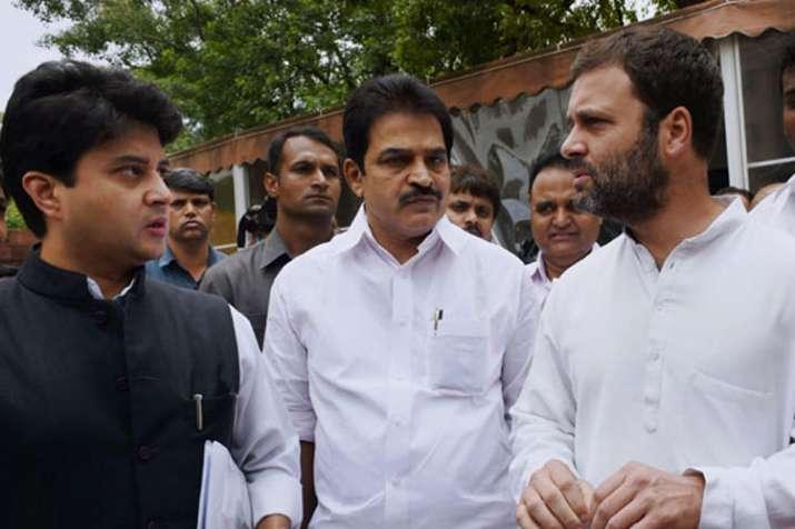 Jyotiraditya Scindia, K.C. Venugopal and Rahul Gandhi | PTI File- India TV Hindi