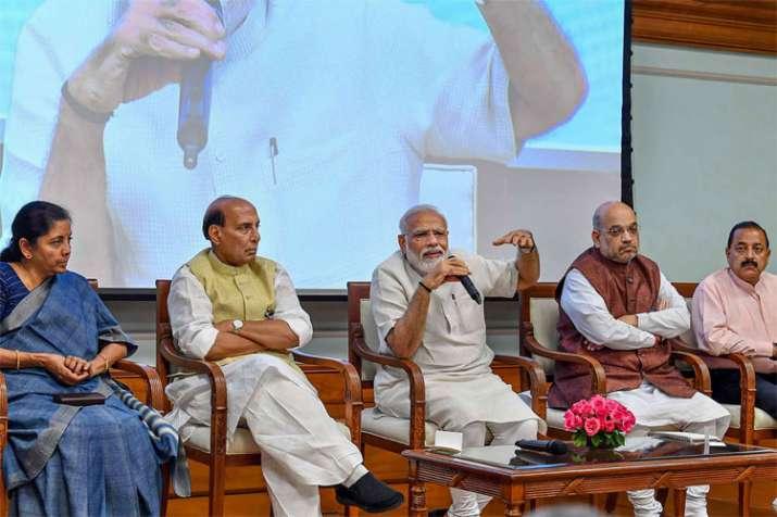 PM Narendra Modi with Nirmala Sitharaman, Rajnath Singh, Amit Shah and Jitendra Singh   PTI- India TV