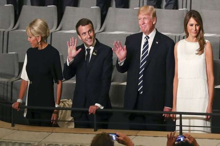French President Emmanuel Macron and us President Trump- India TV Paisa
