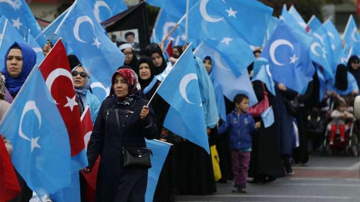 कथित ईस्ट तुर्किस्तान का झंडा लेकर तुर्की के इस्तांबुल में प्रदर्शन करते उइगर मुसलमान| AP File- India TV