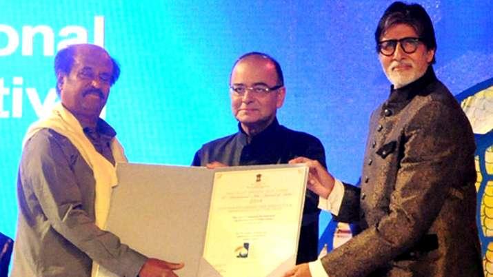 Amitabh Bachchan and Rajinikanth with Arun Jaitley - India TV Hindi