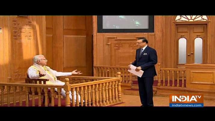 Manohar Lal Khattar in Aap Ki Adalat - India TV