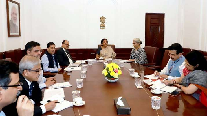 Union Minister for Finance and Corporate Affairs Nirmala Sitharaman chairs a meeting on simplificati- India TV Paisa