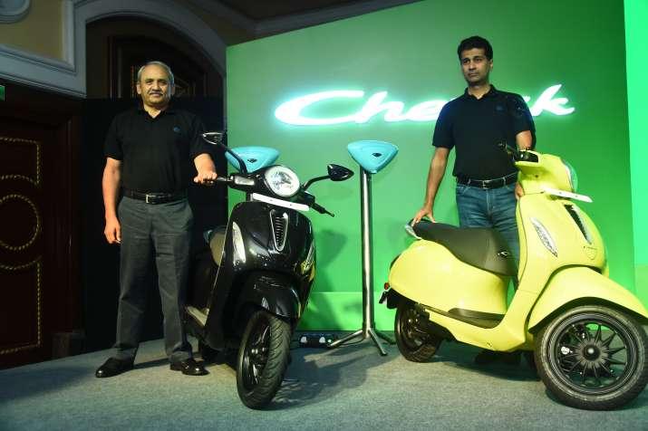 Rajiv Bajaj, MD & Rakesh Sharma, ED launch EV Chetak at Rs 1 lac onwards- India TV Paisa