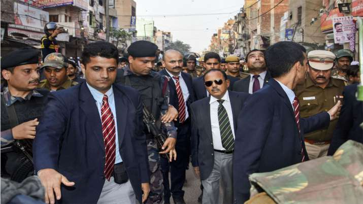 National Security Advisor (NSA) Ajit Doval during his visit to the riot affected areas to assess gro- India TV