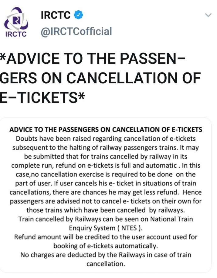 IRCTC, Rail passengers, Rail Ticket cancellation, E-Rail Tickets  - India TV Paisa
