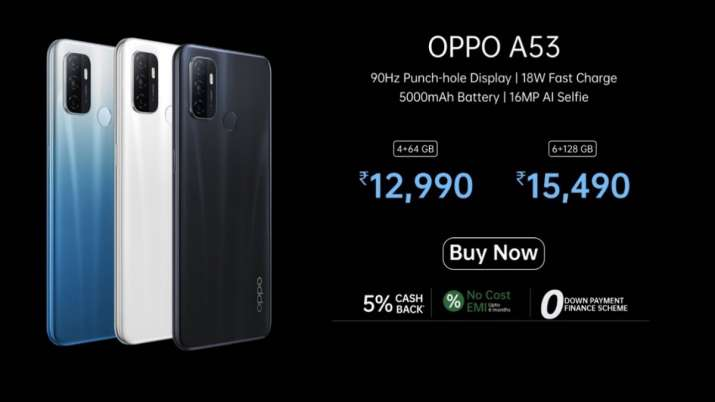 OPPO launches A53 with 90Hz Punch Hole Display, 18W fast charge at a price of INR 12,990 - India TV Paisa