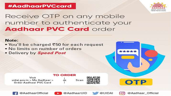 you can use any mobile number to receive OTP for authentication of your Aadhaar PVC order- India TV Paisa