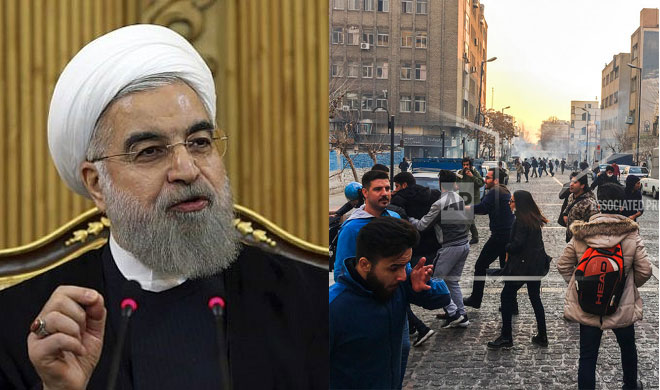 Hassan Rouhani and Protestors | AP Photo- India TV Hindi
