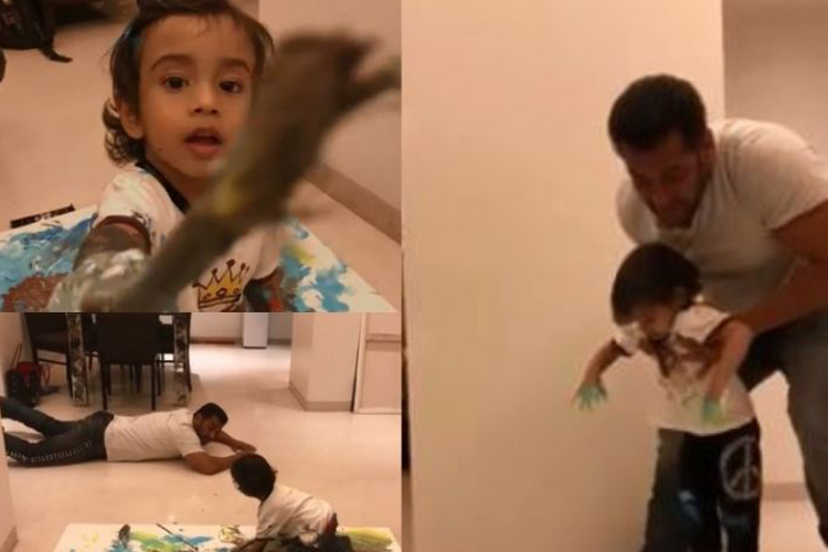 Salman Khan enjoys painting time with nephew Ahil.- India TV Hindi