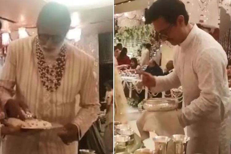 Amitabh Bachchan, Aamir Khan serving food at Isha Ambani wedding- India TV Hindi