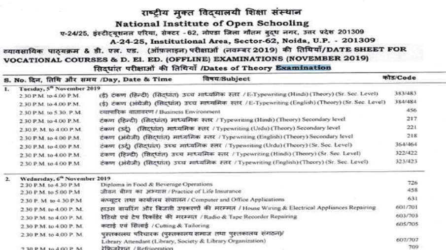 nios deled exam date sheet 2019 released- India TV Hindi
