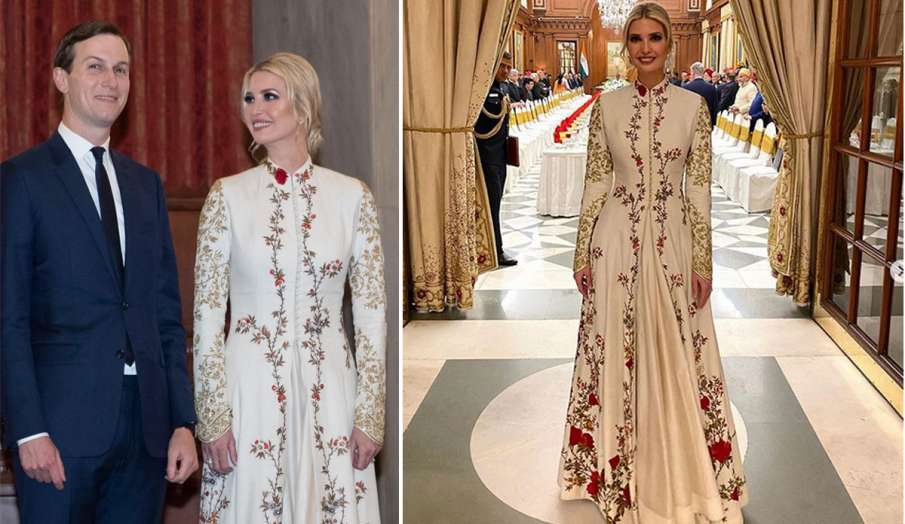 Ivanka Trump wears spring-inspired gown for banquet at
