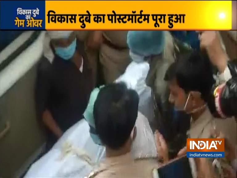 vikas dubey postmortem dead body handed over to family- India TV Hindi