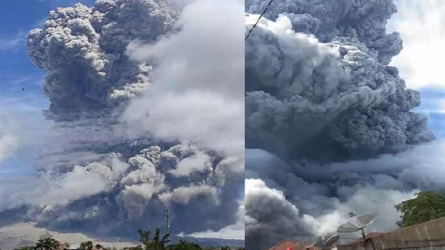Indonesia mount Sinabung volcano ejects towering ash loud ring of fire- India TV Hindi