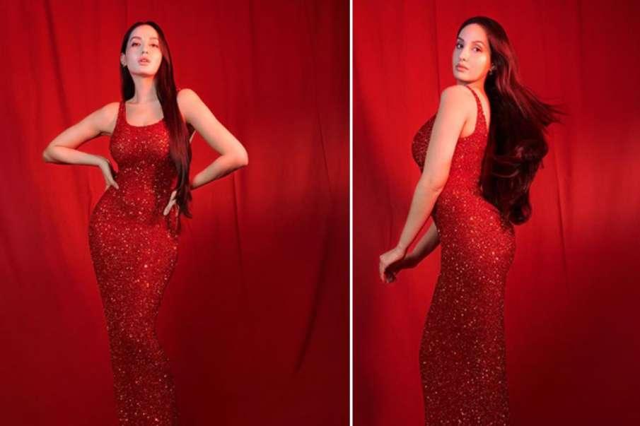 नोरा फतेही रेड कलर की सीक्वंस ड्रेस नजर आईं गॉर्जियस, तस्वीरें देखते ही फैंस की बढ़ी धड़कने- India TV Hindi