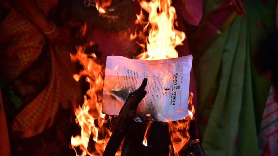 Farmers' Protest: Agitators burn copies of agri laws in Lohri bonfire at protest sites- India TV Hindi
