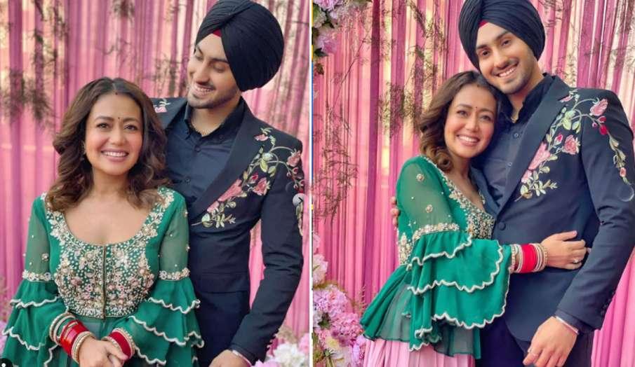 शादी के बाद पति रोहनप्रीत सिंह संग नेहा कक्कड़ ने मनाई पहली लोहड़ी, ग्रीन ड्रेस में दिखीं खूबसूरत- India TV Hindi