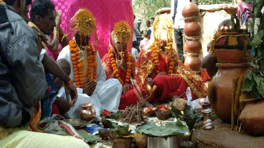 groom married with two brides in bastar jagdalpur watch viral video  अनोखी शादी! एक लड़के ने लिए दो - India TV Hindi